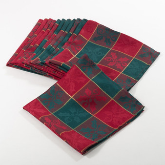 "Fennco Styles Royal de Noel Collection Plaid Design Dinner Napkins - 20"" Square"