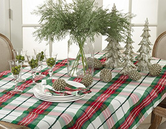 Vernor Collection Plaid Design Holiday Dinner Tablecloth And Napkin