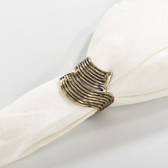 Fennco Styles Neptune Collection Wavy Design Metal Napkin Ring - 2 Colors - Set of 4