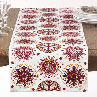 "Fennco Styles Holiday Decor Red Snowflake Print Table Runner - 16""x72"""