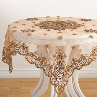 """Fennco Styles Hand Beaded Design Tablecloth - 40"""" Square"""
