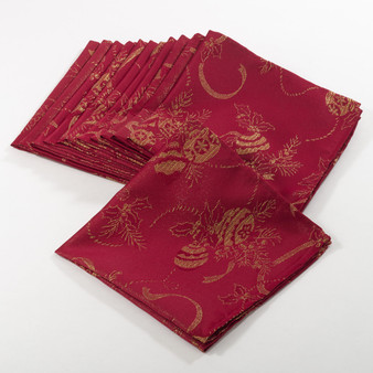 "Fennco Styles Royal de Noel Jacquard Holiday Christmas Dinner Napkins - 20"" Square - Set of 6 - Set of 12"