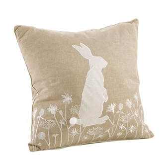 Fennco Styles Handmade Cottontail Rabbit Embroidered Throw Pillow - 2 Styles