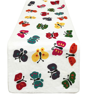 "Fennco Styles Colourful Butterfly Design Embroidered Table Runner - 16""x72"""