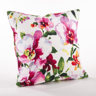 "Fennco Styles Home Decor Printed Floral Design Duck Filled Pillow - 20"" Square"