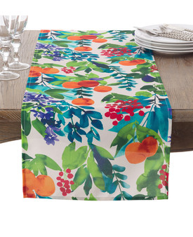 """Fennco Styles Orchard Fruit Art Watercolor Pattern Table Runner - 16""""x72"""""""