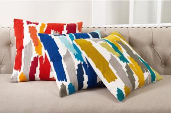 "Fennco Styles Bright Brushstroke Cotton Down Filled Throw Pillow - 20"" Square"