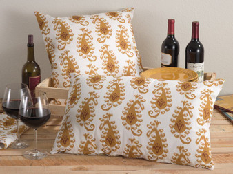 Fennco Styles Ranjani Ikat Decorative Pillows & Matching Mustard and White Collection