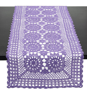 Fennco Styles Handmade Crochet Lace Cotton Rectangular Table Runner