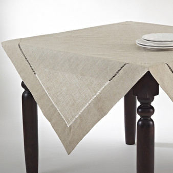 Handmade Hemstitch Design Natural Tablecloth