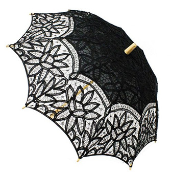 Fennco Styles Handmade Victorian Battenberg Lace Wood Wedding Parasol Umbrella