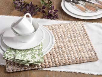 "Fennco Styles Hand Woven Water Hyacinth Placemat 14""x19"" Retangular"