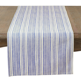 Fennco Styles Nastro Collection Modern Block Striped 100% Pure Cotton Table Runner 16 x 72 Inch – Navy Blue Table Runner for Banquets, Diner Parties, Special Events and Home Décor