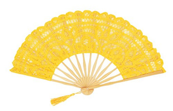 Fennco Styles Handmade Crochet Cotton Lace Twin Tassels Wedding Bridal Decoration Hand Folding Fan