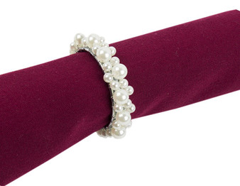 Fennco Styles Faux Elegant Pearl Collection Wedding Special Event Table Napkin Rings - Set of 4 (Pearl with Silver Metal)