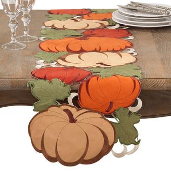 "Fennco Styles Decorative Cutwork Pumpkin Table Runner - 14""x72"""