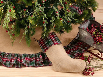 Fennco Styles Edinburgh Collection Plaid Ruffle Design Jute Stocking/ Tree Skirt/Runner