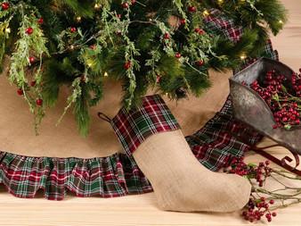 Fennco Styles Edinburgh Collection Plaid Ruffle Design Jute Stocking/ Tree Skirt/Runner