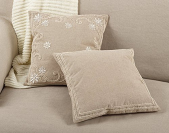 "Fennco Styles Beaded Border Design Cotton Down Filled Throw Pillow 18"" Square"
