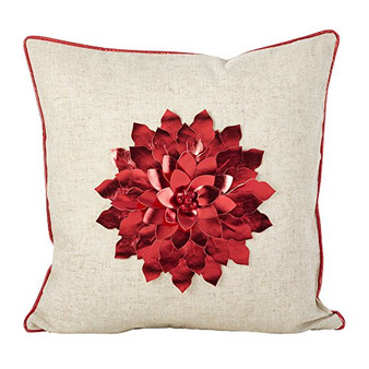 Fennco Styles Metallic Poinsettia Flower Design Holiday Poly Filled Throw Pillow