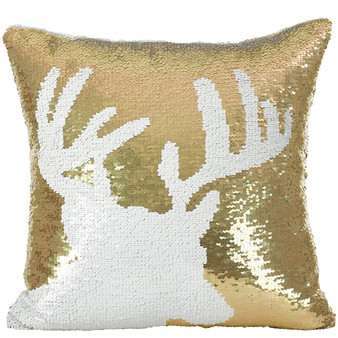 "Fennco Styles Sequin Reindeer Desing Holiday Down Filled Throw Pillow 16"" Square"