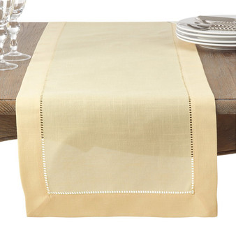"Fennco Styles Classic Hemstitched Trim Border Table Runner 16""x72"" Rectangular"