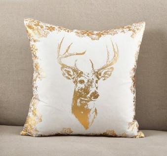Fennco Styles Metallic Foil Reindeer Print Cotton Throw Pillow