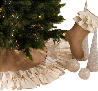 Sidonia Cotton and Jute Ruffled Christmas Tree Skirt