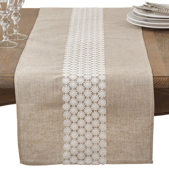 """Fennco Styles Classic Openwork Lace Daisy Table Runner 16""""x72"""""""