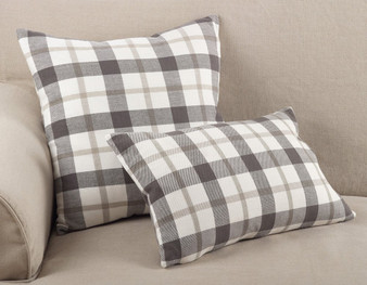 Fennco Styles Tartan Plaid Pattern Traditional Cotton Down Filled Throw Pillow