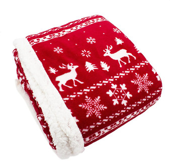 "Fennco Styles Christmas Sweater Throw with Sherpa - 50""x60"""