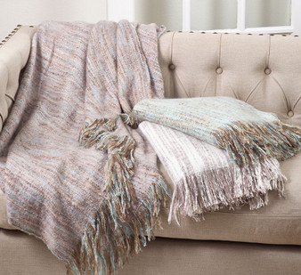 "Fennco Styles Faux Mohair Shabby Chic Throw Blanket - 50""x60"""
