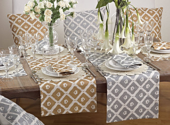 Fennco Styles Metallic Ikat Print Decorative Table Runner