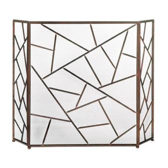 Fennco Styles Modern Geometric Fireplace Screen