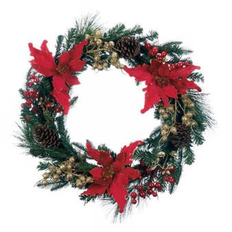 Fennco Styles Holiday Home Decor Faux Poinsettia Christmas Wreath 24-Inch