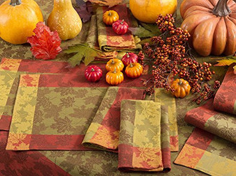 Fennco Styles Holiday Fall Decorative Foliage Woven Jacquard Cotton Collection