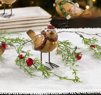Fennco Styles Christmas Holiday Decoration Mini Gold Finch Status Figurines
