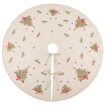"""Fennco Styles Embroidered Holly Design Decorative Linen Blend Christmas Tree Skirt (56"""" Round Tree Skirt)"""