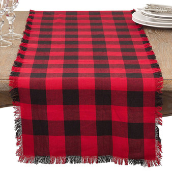 Fennco Styles Buffalo Plaid Classic Design Fringed Cotton Collection