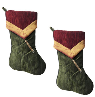Two-tone Crushed Tissue Tassel Christmas Stocking