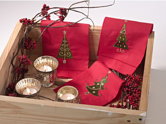 Christmas Tree Embroidery Hemstitched Linen Cotton Guest Towel - Set of 4