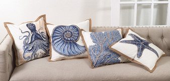 """Fennco Styles Home Décor Sea-inspired Space Decorative Throw Pillow -20"""" Square (100% Cotton)"""