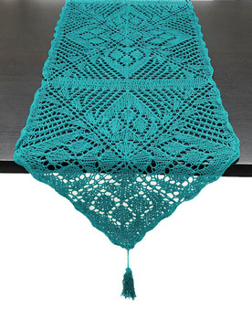 "Fennco Styles Handmade Crochet Lace Design Cotton Table Runner with Tassels 16""x72"""