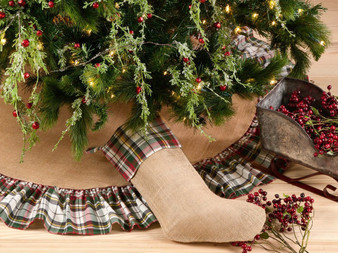 Fennco Styles Inverness Collection Plaid Design Decorative Jute Christmas Stocking / Tree Skirt