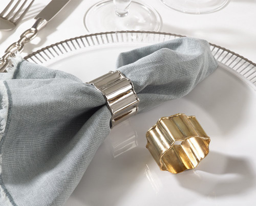 Fennco Styles Collection Classic Design Napkin Ring - 2 Colors - Set of 4 (Gold/ Silver)