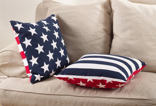 "Fennco Styles Star Spangled Collection Star Striped Design Down Filled Cotton Throw Pillow 20""x20"""