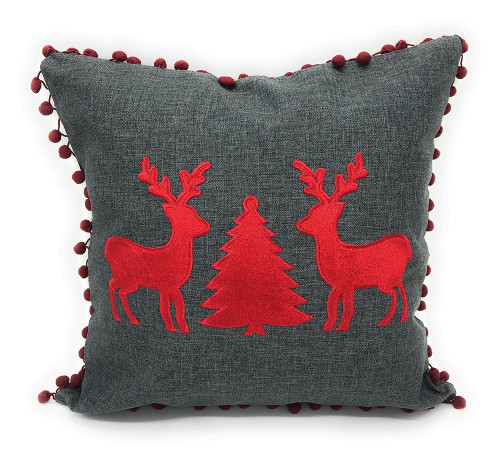 Fennco Styles Christmas Embroidery Deer Pompom Border Holiday Decorative Collection