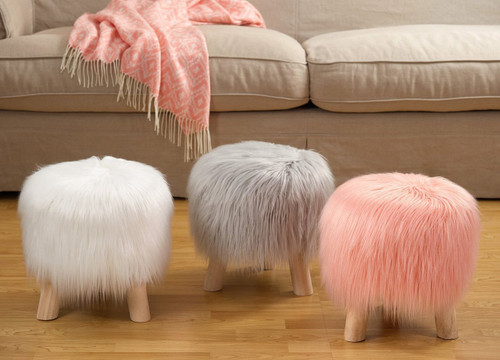 Fennco Styles Mongolian Long Hair Faux Fur Stool
