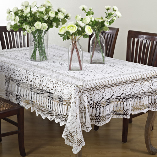 HANDMADE CROCHET LACE COTTON TABLELCOTH