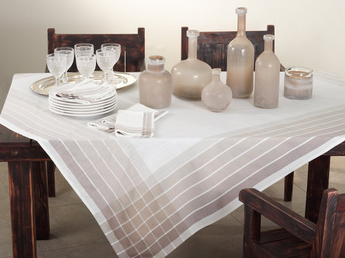 Fennco Styles Café Roma Striped Design Ombré Ivory 72 x 72 Inch Tablecloth for Home Décor, Dining Room, Machine Washable